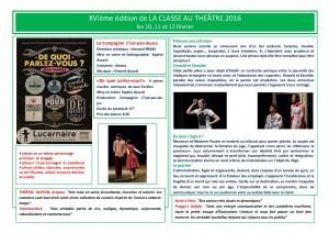 XVIème édition de La Classe au Théâtre (2016)